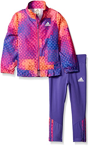 Price comparison product image adidas Toddler Girls' Wind Jacket and Pant Set, Purple, 2T