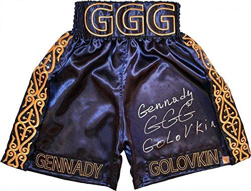 Gennady'GGG' Golovkin Signed Navy & Gold Boxing Trunks - Autographed Boxing Robes and Trunks Authentic Signings