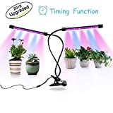 18W Dual-lamp Growing Light, 36LEDs Chips with Red/Blue 5 Levels 3 Modes Timing(3H/9H/12H) Plant Lights Bulbs, Growing Lamps with 360 Degree Flexible Gooseneck for Indoor Plants, Garden Greenhouse Ten