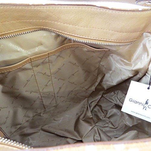 Gianni Conti [N6117] - Sac cuir 'Gianni Conti' taupe petits pois - 36x28x16 cm