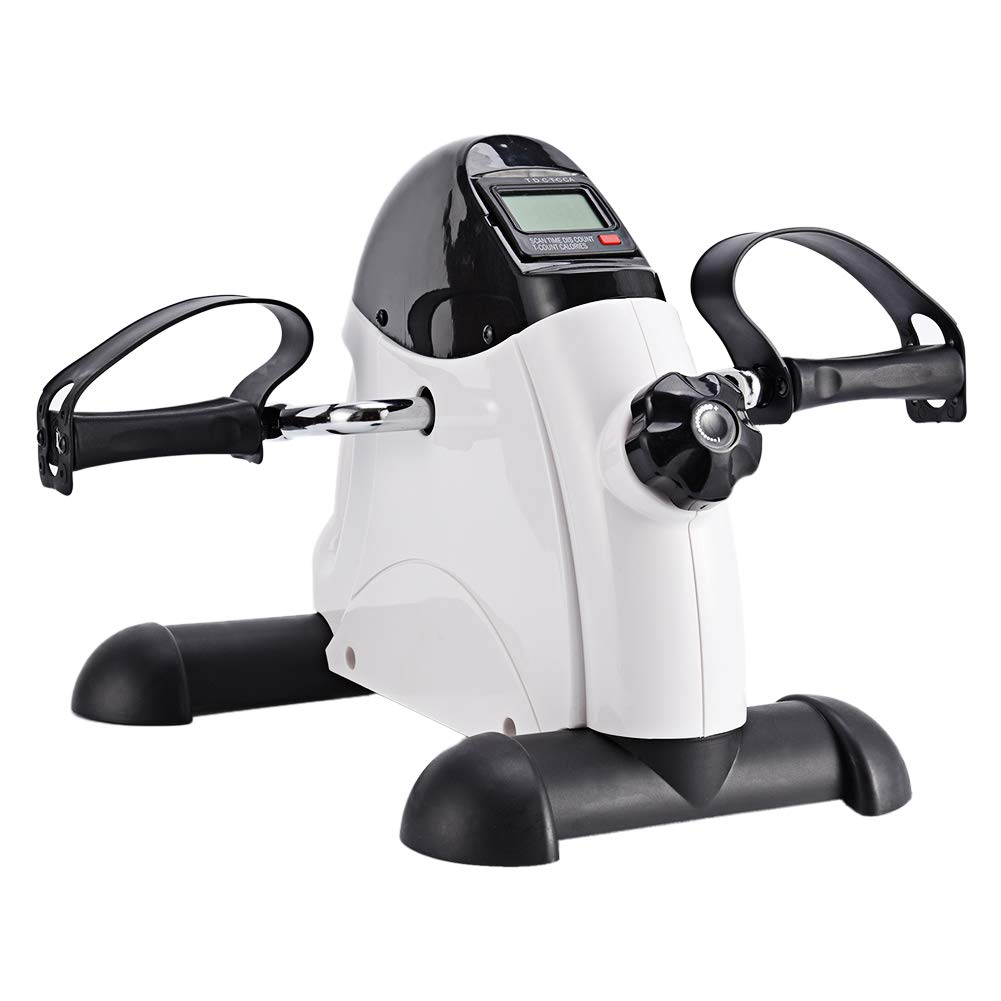 Synteam Portable Handle Pedal Exerciser Arms Legs Mini Exercise Bike with Electronic Display(LWB03,White) by Synteam