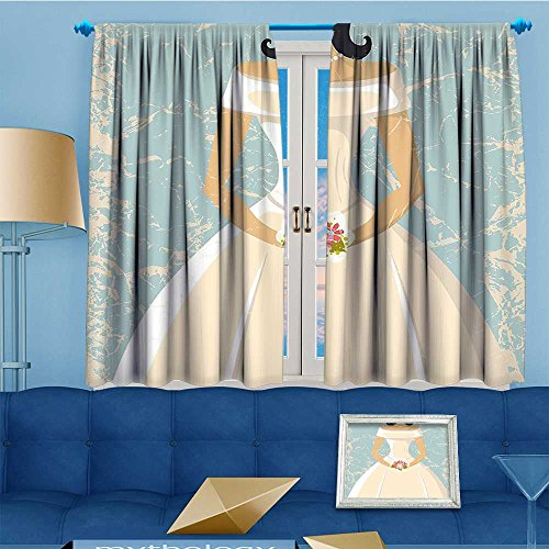 Mikihome Embossed Thermal Weaved Grommet Blackout Curtains Sketchy Design Backdrop Wedding Bride Dress Art White Blocks up to 80% Sunlight- Premium Draperies 72