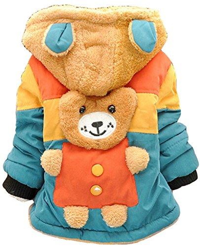 Toddler Baby Boy Cute 3d Bear Winter Warm Jacket Gown Kids Hoodie Outwears Coat 4T/3-4Years Green
