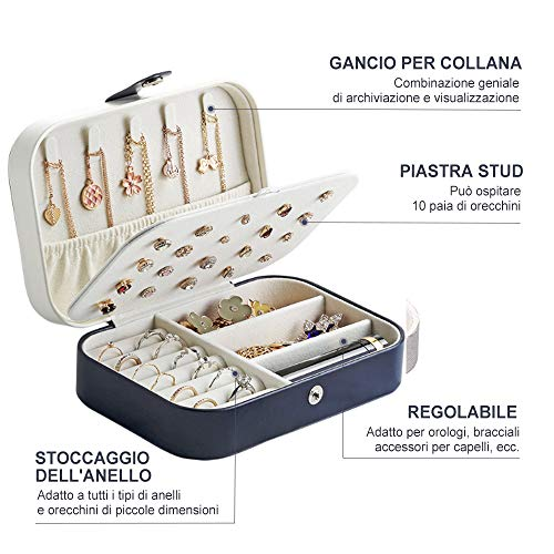 LOBKIN Scatole portagioie Gioielli da Viaggio da Donna Organizzatore Organizzatore Gioielli Scatola immagazzinaggio Piccole Dimensioni Scatola di Gioielli per Anelli Orecchini Collane Bracciali (Blu)