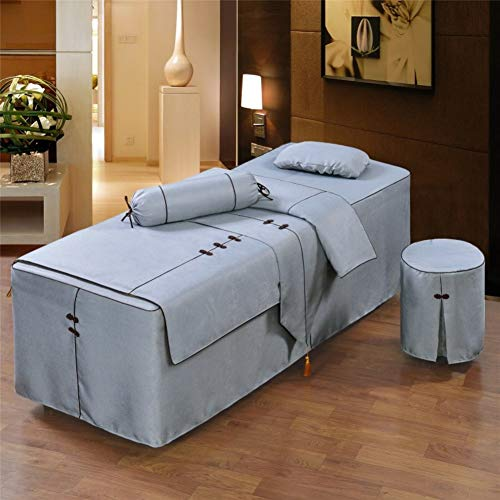 ALHBNAY Premium Massage Table Sheet Sets, Massage Table Skirt, Spa Salon Bed Cover Linen Valance Sheet-D 185x70x55cm