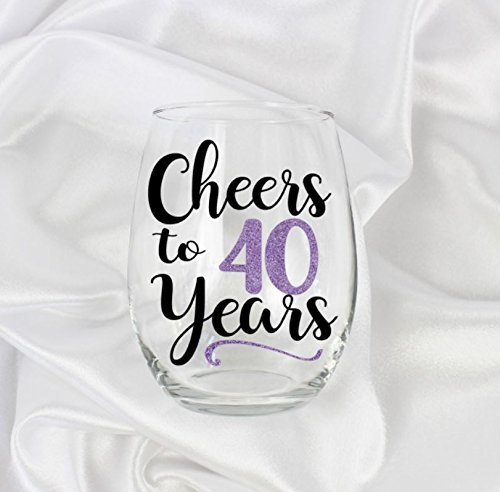 (gifts for 40th birthday woman 1978 large stemless wine glass for her107)