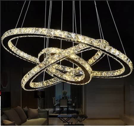 TOPMAX Chandelier Light, K9-Cut Crystals Led Ring Chandelier Warm Light Celling Pendant Light with 3 Rings 20 40 60cm