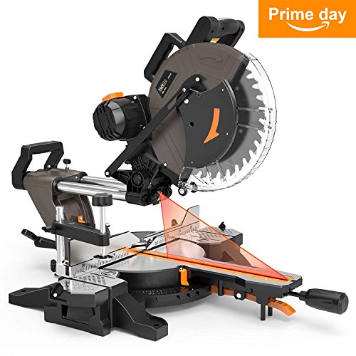 Miter Saw, Tacklife 12'' 15Amp Double-Bevel Compound Miter Saw with Laser Guide, 3500rpm, Adjustable Cutting Angle, Clamping Device - PMS03A