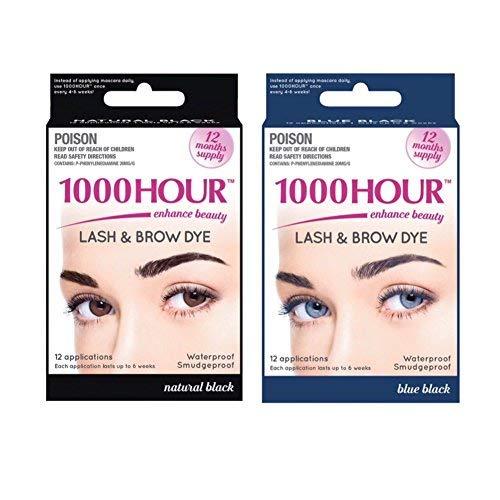 Combo Pack! 1000 Hour Eyelash & Brow Dye / Tint Kit Permanent Mascara (Blue Black & Black) (Best Home Eyelash Dye Kit)
