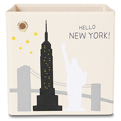 kaikai & ash Storage Bin, Canvas Fabric Toy Box Cube, Kids - New York