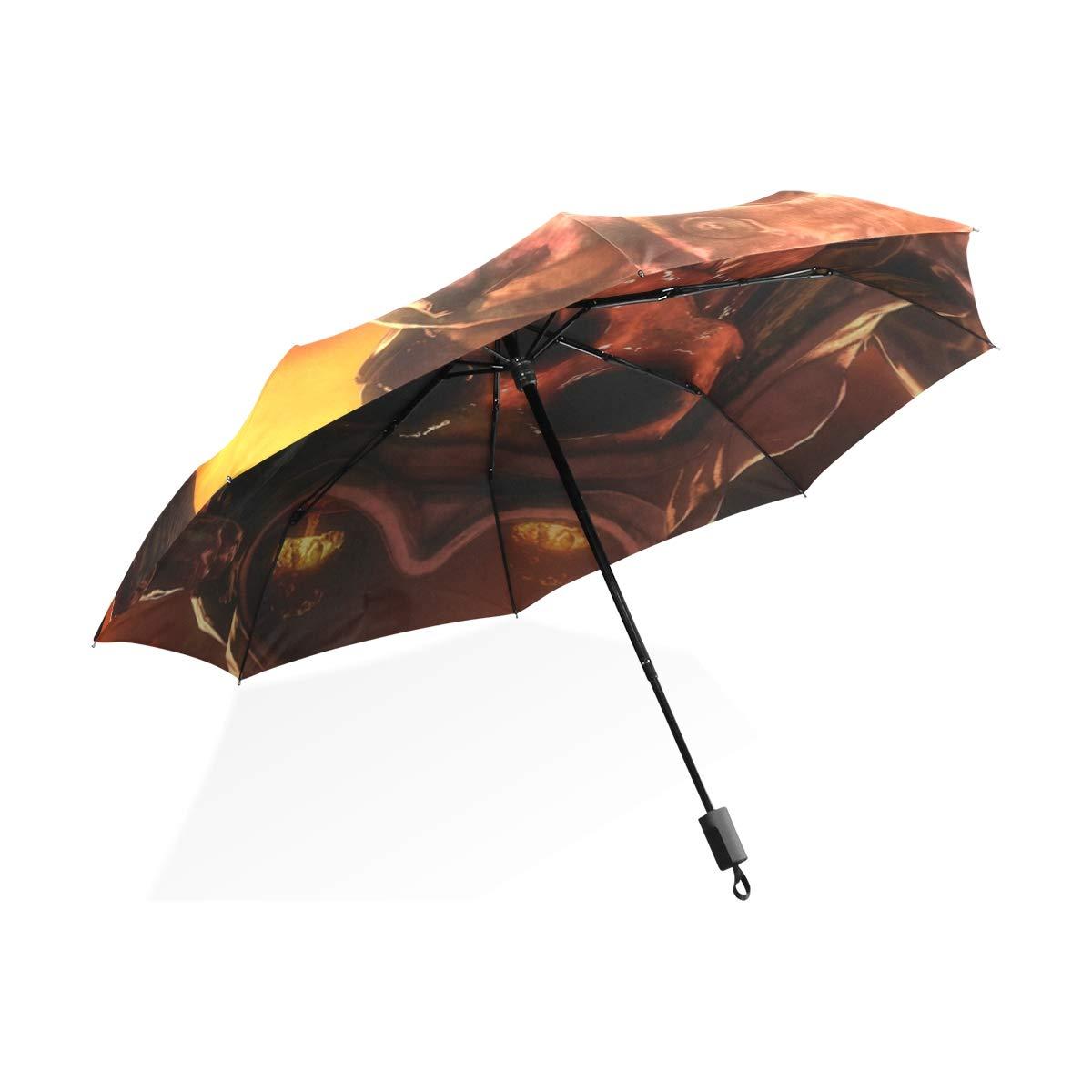Isaoa Automatique Voyage Parapluie Compact Parapluie Pliable Cool Tête de Mort Coupe-Vent Ultra léger Protection UV Parapluie pour Homme ou Femme