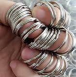 Lot de 50 anneaux de porte-clés en acier nickelé durci de fabrication allemande
