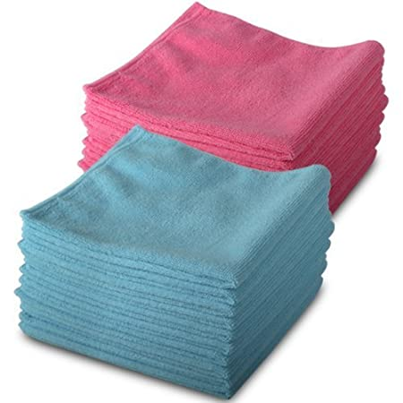 20 Pack of Genuine Exel 10 Pink & 10 Blue Microfibre Magic Cleaning ...