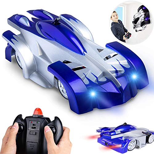 RC Remote Control Cars, Fast Wall Climbing Car Toys for Kids, Girls, Boys Mini USB Radio Controlled Electric Vehicles Rechargable Gravity with 360 Rotating Stunt, LED Lights & Dual Mode Blue Race Cars (Mini Electric Cars For 12 Year Olds)