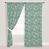 AZ Baby Elephants Door & Window Curtain Satin 4feet x 8feet; SET OF 3 PCS