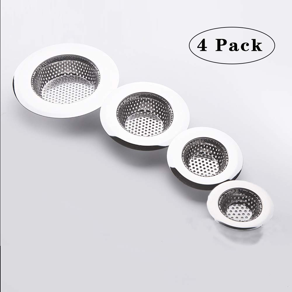 Hair Catcher Shower Drain(4 Pack), Bathtub Drain Cover, Sink Tub Drain Stopper, Sink Strainer for Kitchen and Bathroom, Hair Stopper for Bathtub Drain Cover Size from 1.5'' to 4.45''.