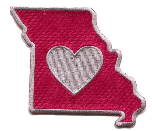 Heart in Missouri Patch - Embroidered Thread Patch for MO Locals, Instant application with a sticky-back, No ironing required. Apply to clothing, coolers, water bottles, glass, wood and more. St Louis