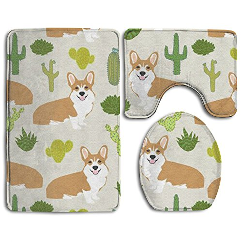 durable service Happy Christmas Bathroom Accessories Bath Rug Sets 3 Piece Bathroom Non-Slip Floor Mat Animal Welsh Corgi Dog Cactus Style Pedestal Rug + Lid Toilet Cover + Bath Mat For Kids Women