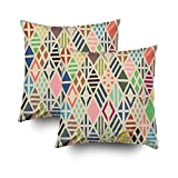 ROOLAYS Decorative Throw Square Pillow Case Cover 18X18Inch,Cotton Cushion Covers Rhombuses pattern Geometric background Both Sides Printing Invisible Zipper Home Sofa Decor Sets 2 PCS Pillowcase