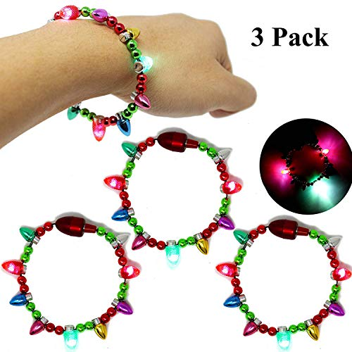 Joyin Toy 3 Pack LED Light Up Christmas Bracelets Set for Holiday Party Favors Goodie Bag Filler Stocking Stuffers