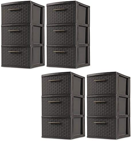 Sterilite 3 Drawer Wicker Weave Decorative Storage Tower, Espresso 4 Pack