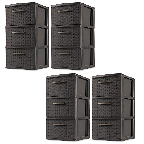 Sterilite 3 Drawer Wicker Weave Decorative Storage Tower, Espresso (4 Pack) (Drawers Small Wicker)