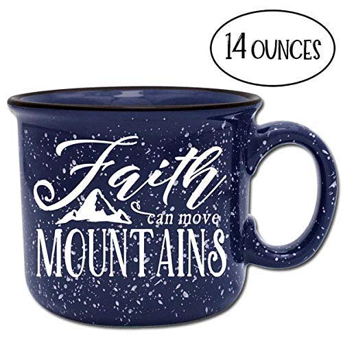 Blue Mountain Chocolate Coffee - Faith Can Move Mountains Religious Ceramic Camper Coffee Mug- Blue 14 oz Large Coffee Cup - Novelty Inspirational Mugs are Perfect Gift for Women, Mom, Teachers Under $20
