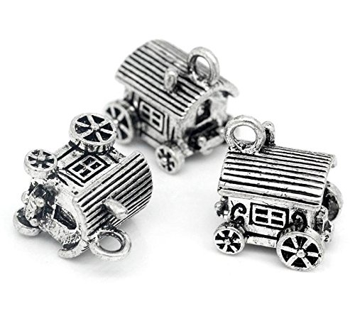 5 x Tibetan Silver CARAVAN TOURING TRAVELLERS 3D 28mm Charms Pendants Beads