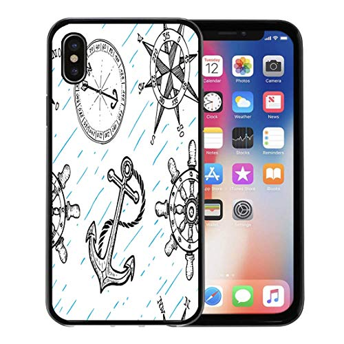 Emvency Phone Case for Apple iPhone Xs Case/iPhone X Case,Pattern Sketch Sea Anchor Compass Steering Wheel Rose Marine Soft Rubber Border Decorative, -