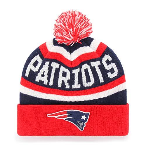 OTS NFL New England Patriots Men's Jasper Cuff Knit Cap with Pom, Team Color, One Size (Toboggan Patriots)