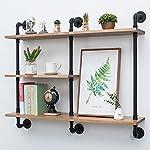 Industrial Pipe Shelf with Wood 43.3in,Rustic Wall Mount Shelf 3-Tiers,Metal Hung Bracket Bookshelf,Diy Storage Shelving Floating Shelves 6