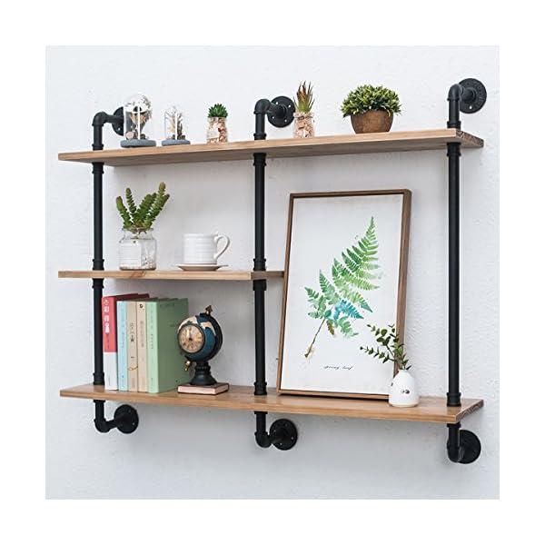 Industrial Pipe Shelf with Wood 43.3in,Rustic Wall Mount Shelf 3-Tiers,Metal Hung Bracket Bookshelf,Diy Storage Shelving Floating Shelves 3