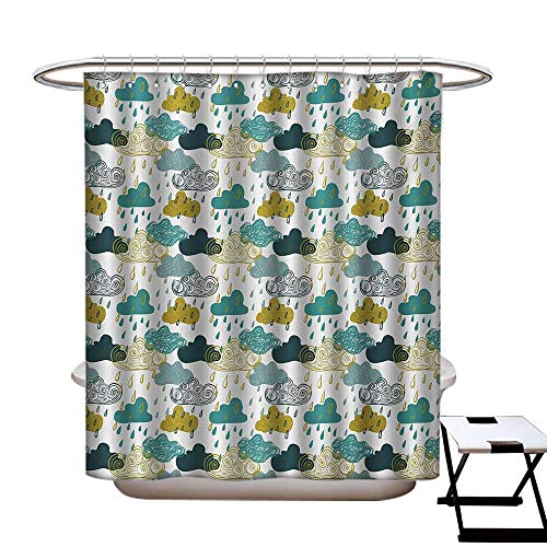 BlountDecor Autumn Shower Curtains 3D Digital Printing Several Spiral Vortex and Grunge Distressed Clouds Rain in September Icon Image Custom Made Shower Curtain W48 x L72 Blue Mustard