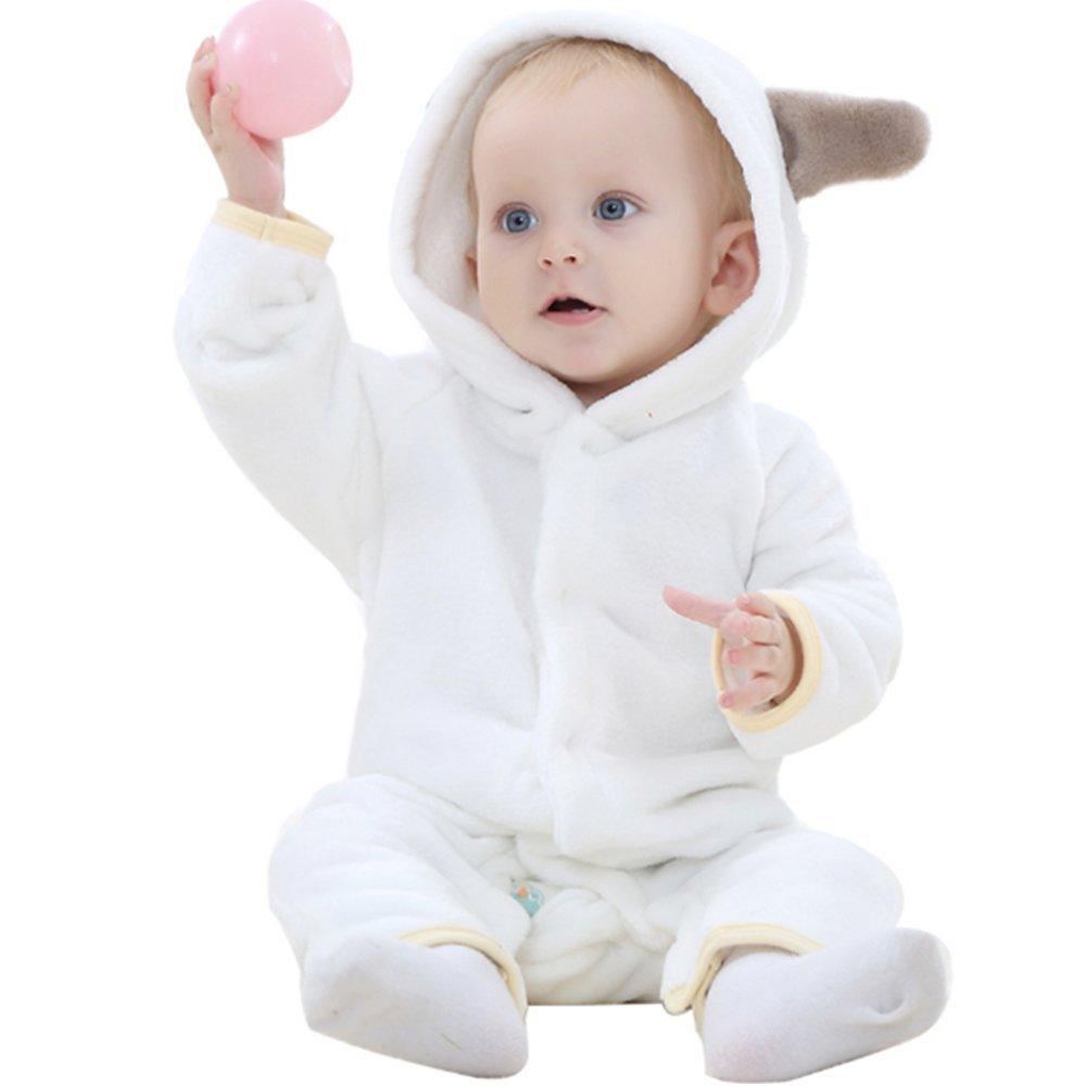 LJYH Baby Toddler Cute Cartoon Hooded Flannel Romper