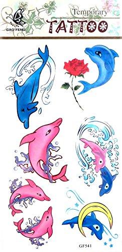 roses dolphin temporary tattoo Fun Stocking Stuffers (Dolphin Tattoo)