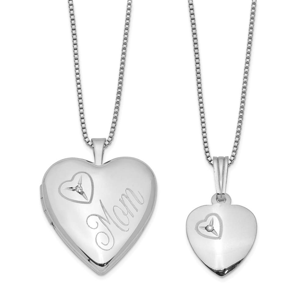 CDM product 925 Sterling Silver Diamond Heart Locket Pendant Charm Necklace Set Fine Jewelry Gifts For Women For Her big image