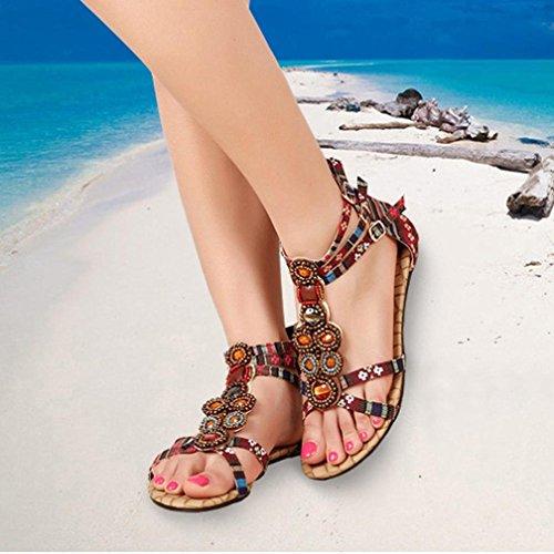 Ouneed® Damen böhmische Art Reißverschluss Ebene Schuhe Kederleiste beiläufige geöffnete Zehe Sandalen Flip Flops Damen Erwachsene Zehentrenner Rot