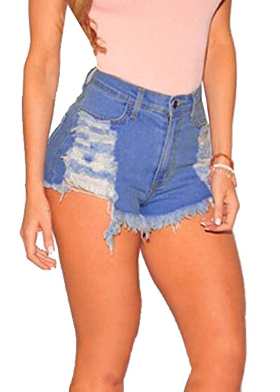 1eb2863f6 YYear Women High Rise Cutoff Slim Fit Ripped Distressed Denim Shorts Jeans  at Amazon Women s Clothing store
