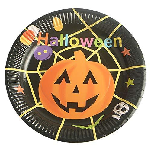 10pcs Halloween Paper Plates Disposable Paper Dishes Pumpkin