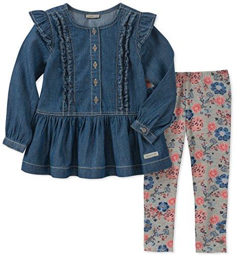 Calvin Klein - Juego de 2 Leggings de túnica para niña, Dark Wash/Print, 6-9Meses