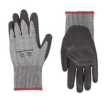 AmazonCommercial 13G HPPE Cut Resistant Liner & Polyurethane Coated Gloves (Salt & Pepper/Black), Size S, 1 Pair