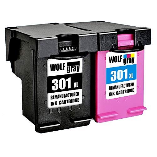 Wolfgray 301XL Remanufacturado para HP 301 XL 301 Cartuchos de tinta (1 negro, 1 tricolor) para HP Deskjet 2544 1010 2540 1510 2510 2050 1050 3055A ...