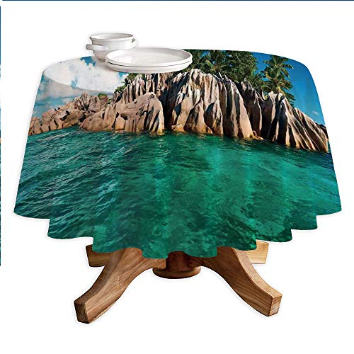 (Island Round Polyester Tablecloth,St. Pierre Island at Seychelles Natural Granite Relaxation Mediterranean,Dining Room Kitchen Round Table Cover,36