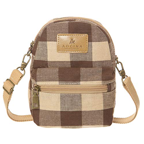 Bag Brown Khaki - AOCINA Small Crossbody Bag Cell Phone Purse Pouch Mini Shoulder Bag(Brown-Khaki)