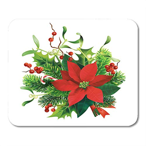 - Semtomn Mouse Pad Green Christmas Fir Mistletoe Holly Branches and Poinsettia Flower Mousepad 9.8