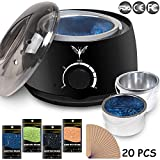 Wax Warmer Electrict Hair Removal Waxing Kit Black Rapid Melt Wax Heater With 4 Flavors Hard Wax Beans 20 Wax Applicator Sticks Women Men Home Waxing Spa for Face Arm Armpits Legs Bikini