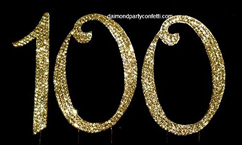 GOLD Rhinestone Covered 100th Birthday Party Anniversary Number Cake Topper Gift -
