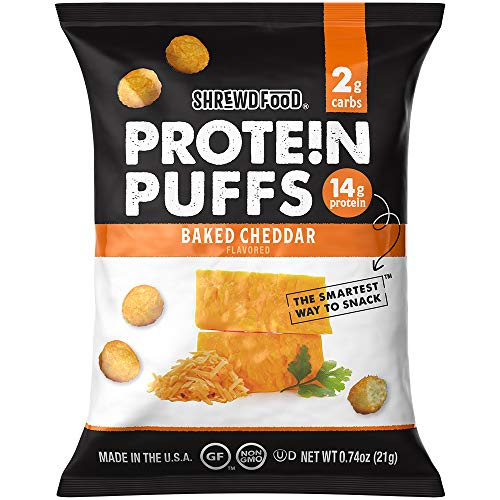 Shrewd Food Keto Protein Puffs, Low Carb, High Protein, Healthy Cheese Puff, 14g per Pack, 2g Carbs, Gluten Free Snacks, Real Cheese, Soy Free, Peanut Free, Baked Cheddar, 8 Pack 1