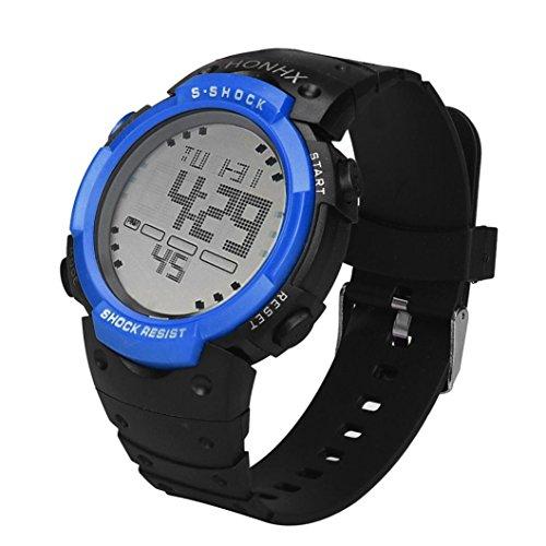 Perman Mens Watch Lcd Digital Stopwatch Date Rubber Sport Watch   Blue