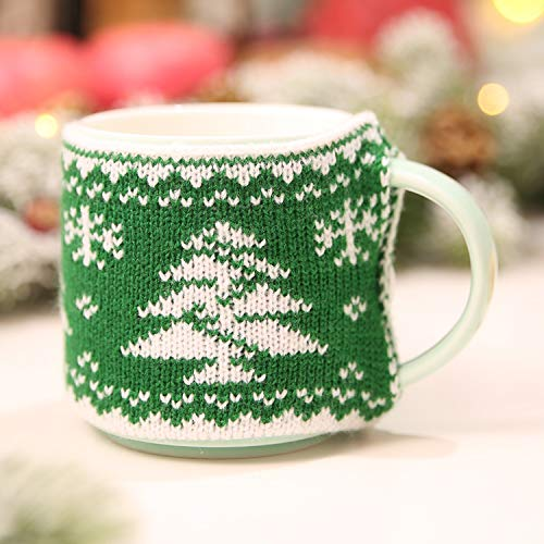 JEWH Christmas - Decoration for Home - Mug Cover Christmas Tree Snowflake Elk - Knitted Cup Cover - New Year Party Table Decor (Christmas ()